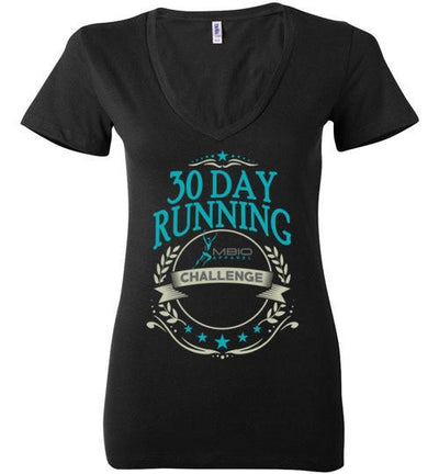 Ladies V-Neck 30 Day Running Challenge T-Shirt T-Shirt Mbio Apparel Bella Black S
