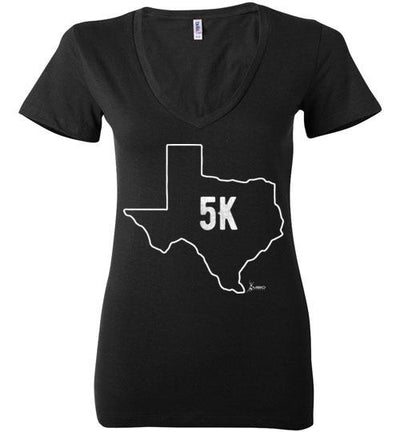 Texas Outline 5K Ladies V-Neck T-Shirt T-Shirt Mbio Apparel Bella Black S