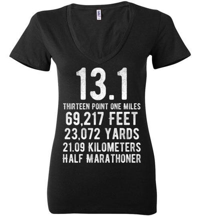 Half Marathoner Ladies V-Neck T-Shirt T-Shirt Mbio Apparel Bella Black S
