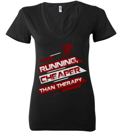 Running, Cheaper Than Therapy Ladies V-Neck T-Shirt T-Shirt Mbio Apparel Bella Black S