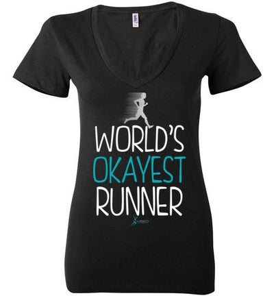 World's Okayest Runner Ladies V-Neck T-Shirt T-Shirt Mbio Apparel Bella Black S