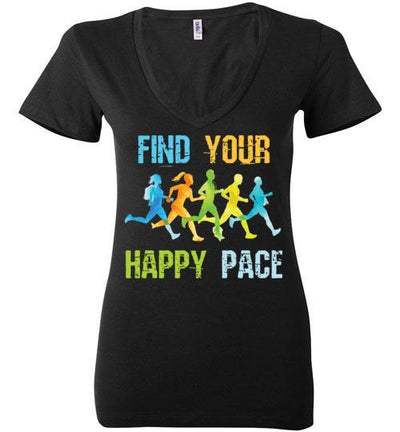 Find Your Happy Pace Ladies V-Neck T-Shirt T-Shirt Mbio Apparel Bella Black S