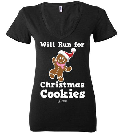 Will Run for Christmas Cookies Ladies V-Neck T-Shirt Mbio Apparel Bella Black S