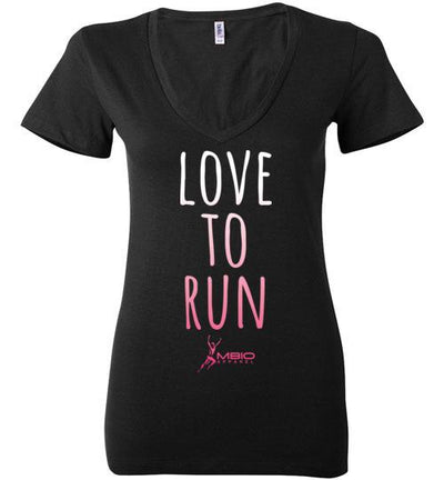 Love To Run Ladies V-Neck T-Shirt Mbio Apparel Black S