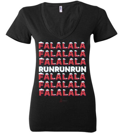 Fa La La Run Ladies V-Neck T-Shirt Mbio Apparel Bella Black S