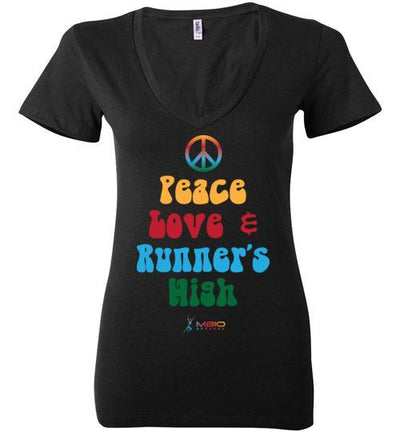 Peace, Love, and Runner's High Ladies V-Neck T-Shirt Mbio Apparel Black S