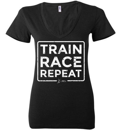 Train Race Repeat Ladies V-Neck T-Shirt Mbio Apparel Bella Black S