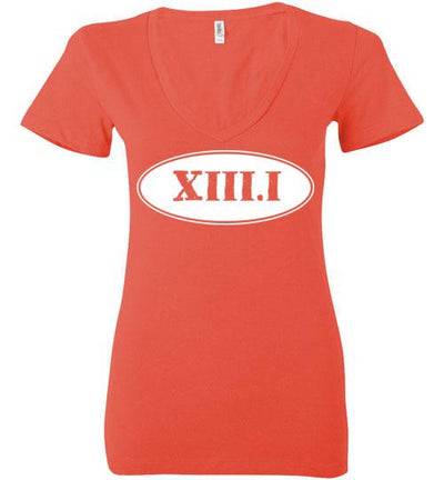 Half Marathon Roman Numeral Oval Ladies V-Neck T-Shirt Mbio Apparel Bella Coral S
