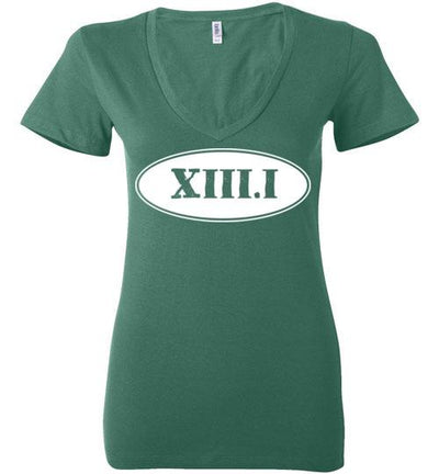 Half Marathon Roman Numeral Oval Ladies V-Neck T-Shirt Mbio Apparel Bella Kelly S