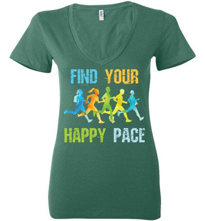 Find Your Happy Pace Ladies V-Neck T-Shirt T-Shirt Mbio Apparel Bella Kelly S