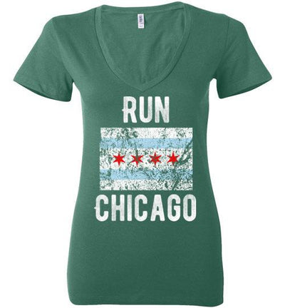 Run Chicago V-Neck T-Shirt T-Shirt Mbio Apparel Bella Kelly S