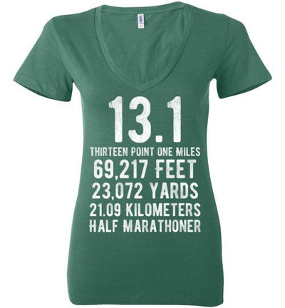 Half Marathoner Ladies V-Neck T-Shirt T-Shirt Mbio Apparel Bella Kelly S