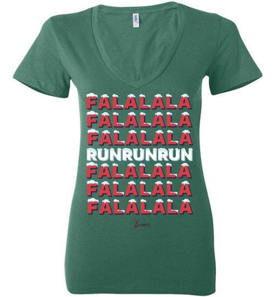 Fa La La Run Ladies V-Neck T-Shirt Mbio Apparel Bella Kelly S