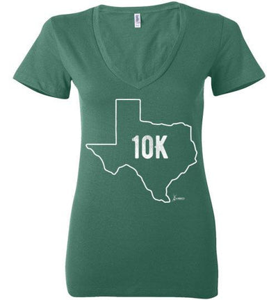 Texas Outline 10K Ladies V-Neck T-Shirt T-Shirt Mbio Apparel Bella Kelly S