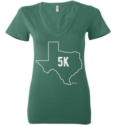 Texas Outline 5K Ladies V-Neck T-Shirt T-Shirt Mbio Apparel Bella Kelly S