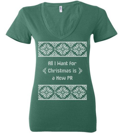 All I Want for Christmas Ladies V-Neck T-Shirt Mbio Apparel Bella Kelly S