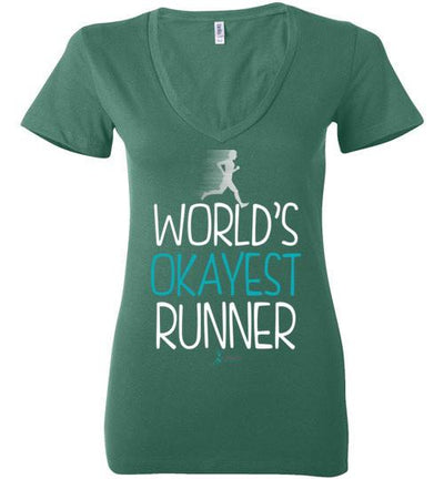 World's Okayest Runner Ladies V-Neck T-Shirt T-Shirt Mbio Apparel Bella Kelly S