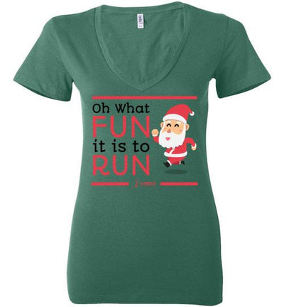 Oh What Fun it is to Run Ladies V-Neck T-Shirt Mbio Apparel Bella Kelly S