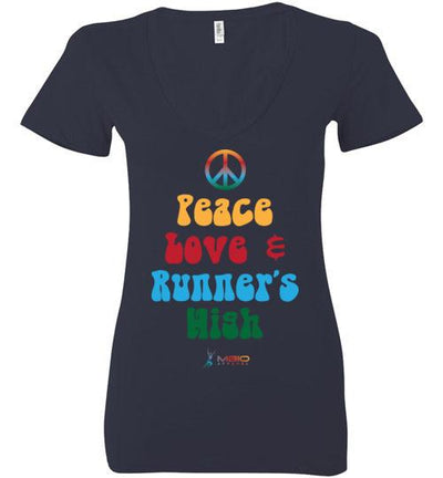 Peace, Love, and Runner's High Ladies V-Neck T-Shirt Mbio Apparel Bella Navy S