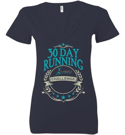 Ladies V-Neck 30 Day Running Challenge T-Shirt T-Shirt Mbio Apparel Bella Navy S