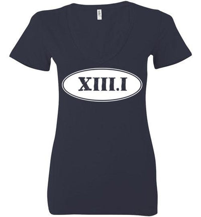 Half Marathon Roman Numeral Oval Ladies V-Neck T-Shirt Mbio Apparel Bella Navy S
