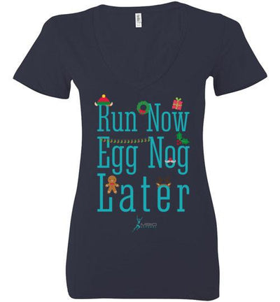 Run Now Eggnog Later Ladies V-Neck T-Shirt Mbio Apparel Bella Navy S