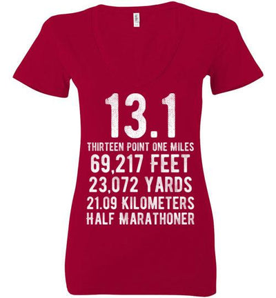 Half Marathoner Ladies V-Neck T-Shirt T-Shirt Mbio Apparel Bella Red S