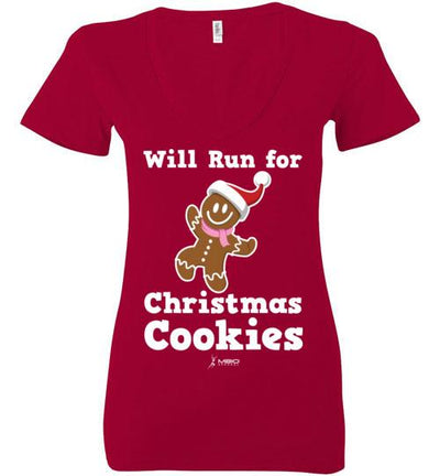 Will Run for Christmas Cookies Ladies V-Neck T-Shirt Mbio Apparel Bella Red S