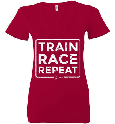 Train Race Repeat Ladies V-Neck T-Shirt Mbio Apparel Bella Red S