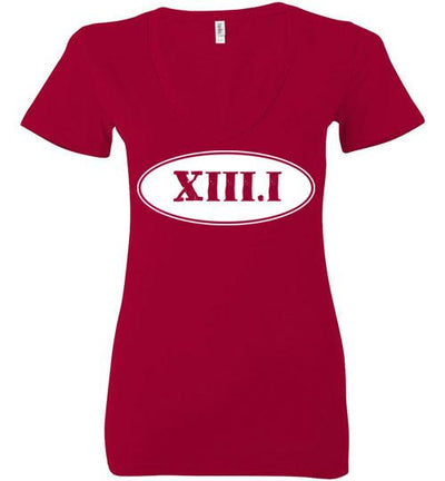 Half Marathon Roman Numeral Oval Ladies V-Neck T-Shirt Mbio Apparel Bella Red S
