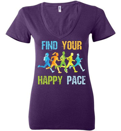 Find Your Happy Pace Ladies V-Neck T-Shirt T-Shirt Mbio Apparel Bella Team Purple S