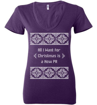 All I Want for Christmas Ladies V-Neck T-Shirt Mbio Apparel Bella Team Purple S
