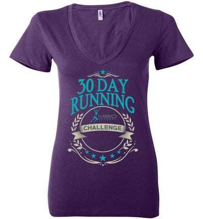 Ladies V-Neck 30 Day Running Challenge T-Shirt T-Shirt Mbio Apparel Bella Team Purple S