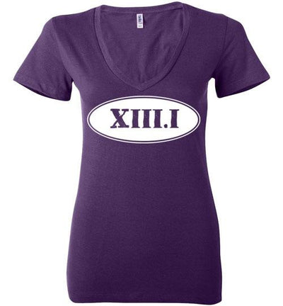 Half Marathon Roman Numeral Oval Ladies V-Neck T-Shirt Mbio Apparel Bella Team Purple S