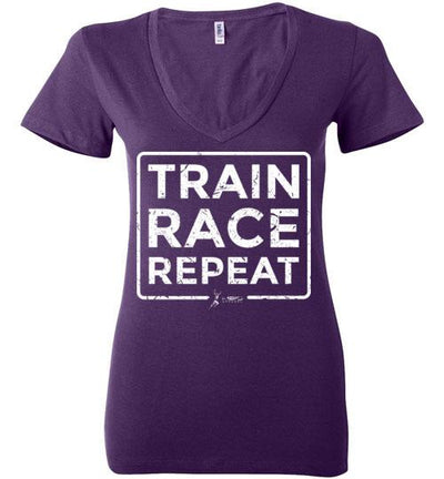 Train Race Repeat Ladies V-Neck T-Shirt Mbio Apparel Bella Team Purple S
