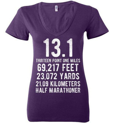 Half Marathoner Ladies V-Neck T-Shirt T-Shirt Mbio Apparel Bella Team Purple S