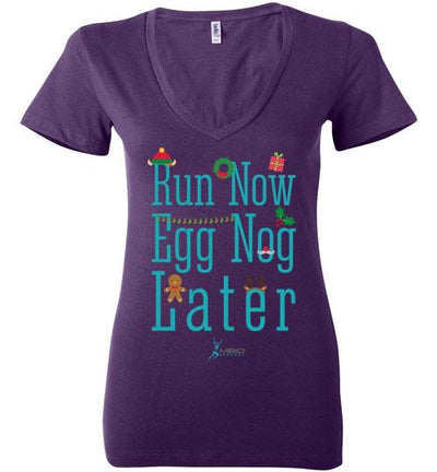Run Now Eggnog Later Ladies V-Neck T-Shirt Mbio Apparel Bella Team Purple S