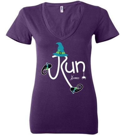 Running Witch Halloween Ladies V-Neck T-Shirt