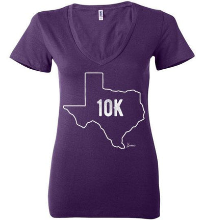 Texas Outline 10K Ladies V-Neck T-Shirt T-Shirt Mbio Apparel Bella Team Purple S