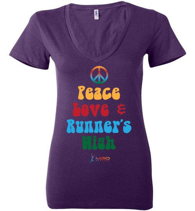 Peace, Love, and Runner's High Ladies V-Neck T-Shirt Mbio Apparel Bella Team Purple S