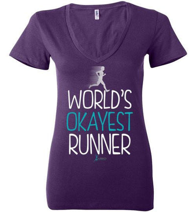 World's Okayest Runner Ladies V-Neck T-Shirt T-Shirt Mbio Apparel Bella Team Purple S