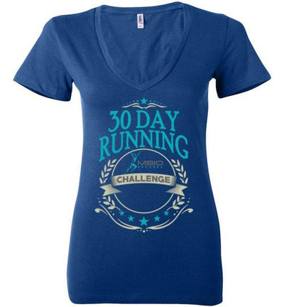 Ladies V-Neck 30 Day Running Challenge T-Shirt T-Shirt Mbio Apparel Bella True Royal S