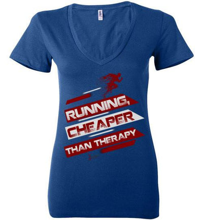 Running, Cheaper Than Therapy Ladies V-Neck T-Shirt T-Shirt Mbio Apparel Bella True Royal S