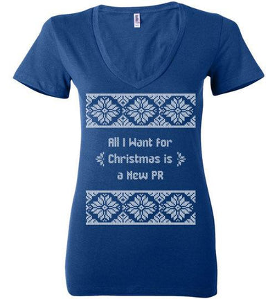 All I Want for Christmas Ladies V-Neck T-Shirt Mbio Apparel Bella True Royal S