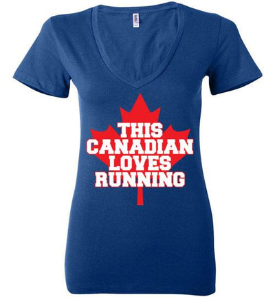 This Canadian Loves Running Ladies V-Neck T-Shirt