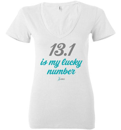13.1 Is My Lucky Number Ladies V-Neck T-Shirt T-Shirt Mbio Apparel Bella White S