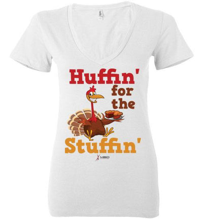 Huffin' for the Stuffin' Ladies V-Neck T-Shirt Mbio Apparel Bella White S