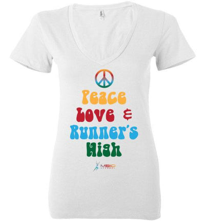 Peace, Love, and Runner's High Ladies V-Neck T-Shirt Mbio Apparel White S