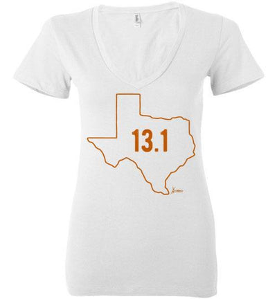 Texas Outline Half-Marathon Ladies V-Neck T-Shirt T-Shirt Mbio Apparel Bella White S