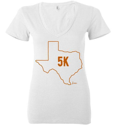 Texas Outline 5K Ladies V-Neck T-Shirt T-Shirt Mbio Apparel Bella White S